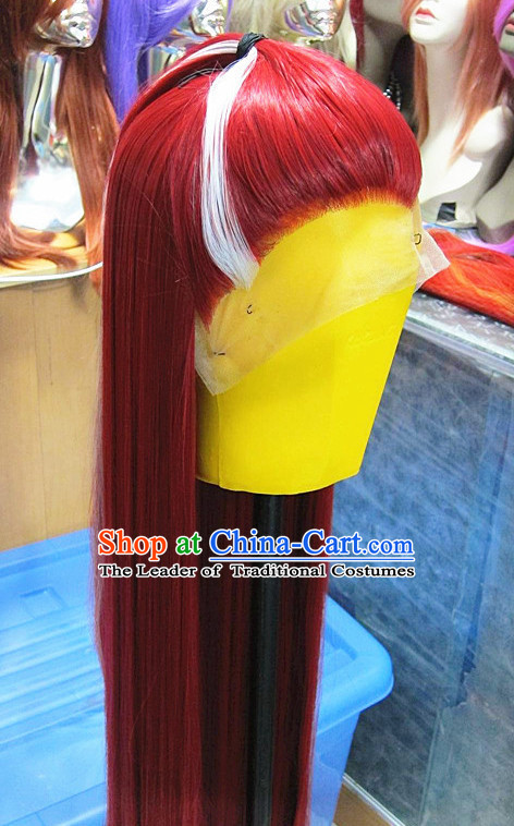 Chinese Traditional Swordsmen Wig Ancient Men Wigs Ladies Wigs Red White Wigs Male Lace Front Wigs Custom Hair Pieces