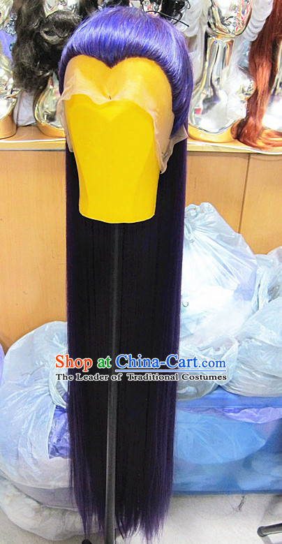 Chinese Traditional Swordsmen Wig Ancient Men Wigs Ladies Wigs Purple Wigs Male Lace Front Wigs Custom Hair Pieces