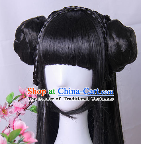 Traditional Chinese Princess Queen Empress Long Black Wigs