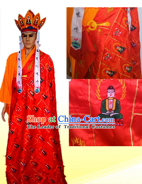 Ancient Chinese Tang Seng Monk Costumes and Hat Complete Set