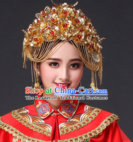 Traditional Chinese Bridal Hat Headdress for Women