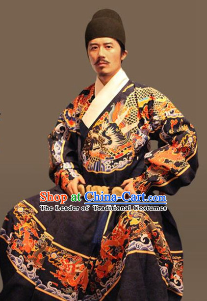 Ancient Chinese Clothing and Hair Jewelry Complete Set for Men