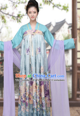 Asian Chinese Tang Dynasty Long Dresses Hanfu Costume Clothing Chinese Robe Chinese Kimono for Women