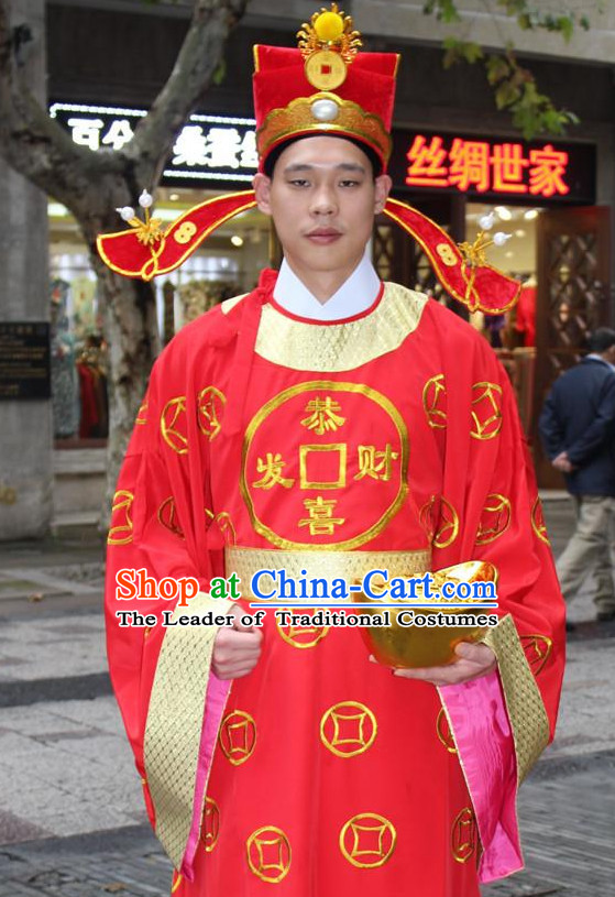 Asian Chinese Legend Cai Shen Money God Long Dresses Hanfu Costume Clothing Chinese Robe Chinese Kimono and Hat Complete Set for Men