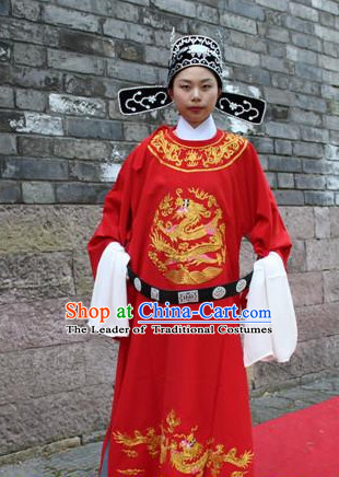 Asian Chinese Official Brides Long Dresses Hanfu Costume Clothing Chinese Robe Chinese Kimono and Hat Complete Set for Men