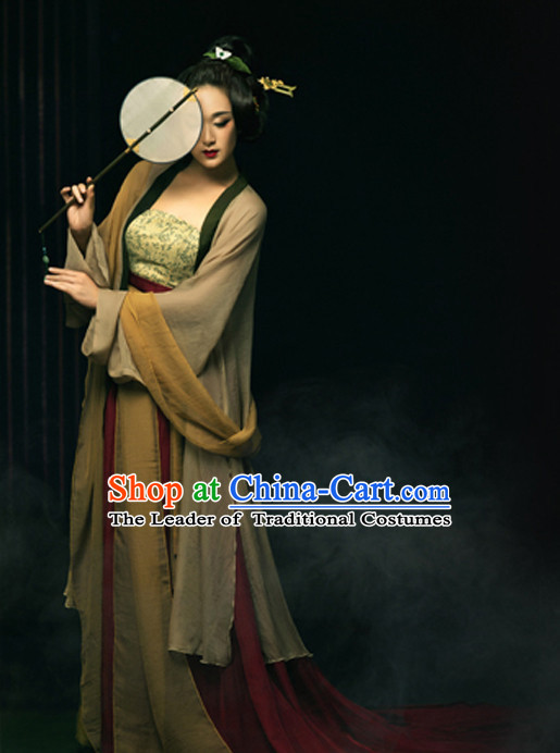 Asian Chinese Lady Hanfu Dress Costume Clothing Oriental Dress Chinese Robes Kimono and Hair Accessories Complete Set for Women Girls Adults Children