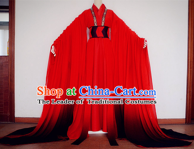Asian Chinese Royal Imperial Hanfu Costume Clothing Oriental Dress and Hair Accessories Complete Set for Adults Children