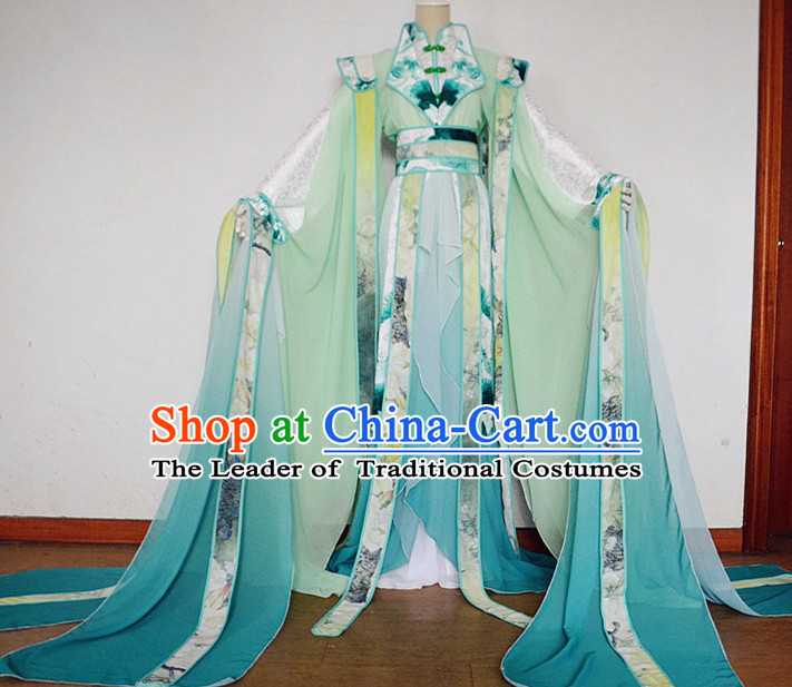 Asian Chinese Royal Imperial Princess Empress Queen Hanfu Costume Clothing Oriental Dress and Hair Accessories Complete Set for Men Boys Adults Children
