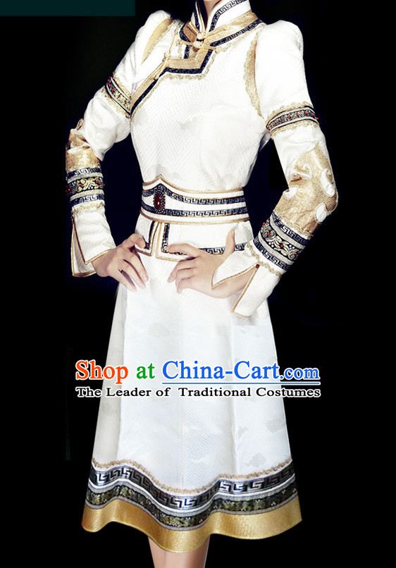 Mongolian People Yuan Dynasty Mongolians Dance Costumes Queen Princess Empress Clothing Clothes Garment Complete Set for Women Girls