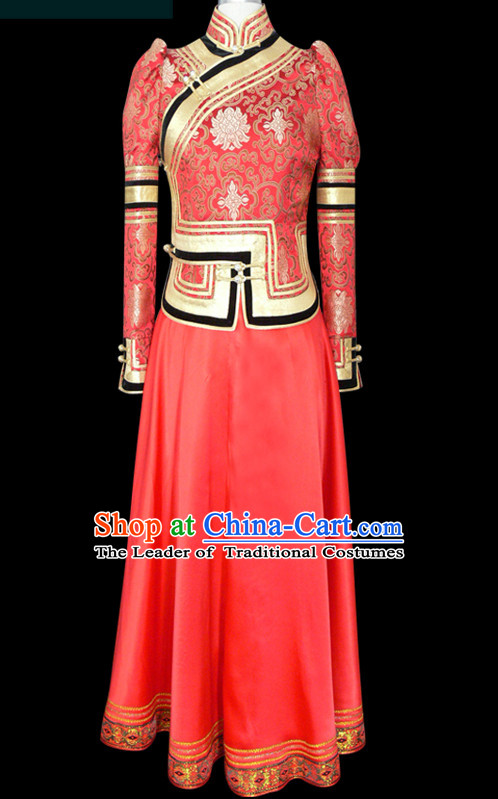 Mongolian People Yuan Dynasty Mongolians Dance Costumes Clothing Clothes Garment Complete Set for Women Girls