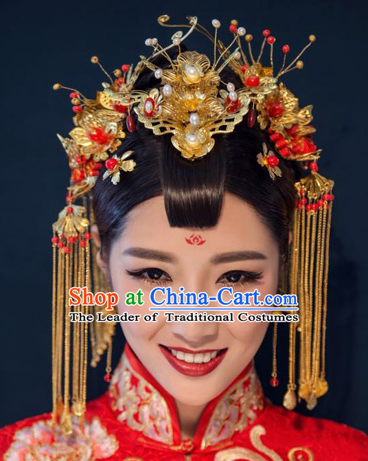 Handmade Asian Chinese Classical Wedding Hair Accessories Fascinators Hair Sticks Hairpins Hair Bows Hair Pieces Bridal Hair Clips