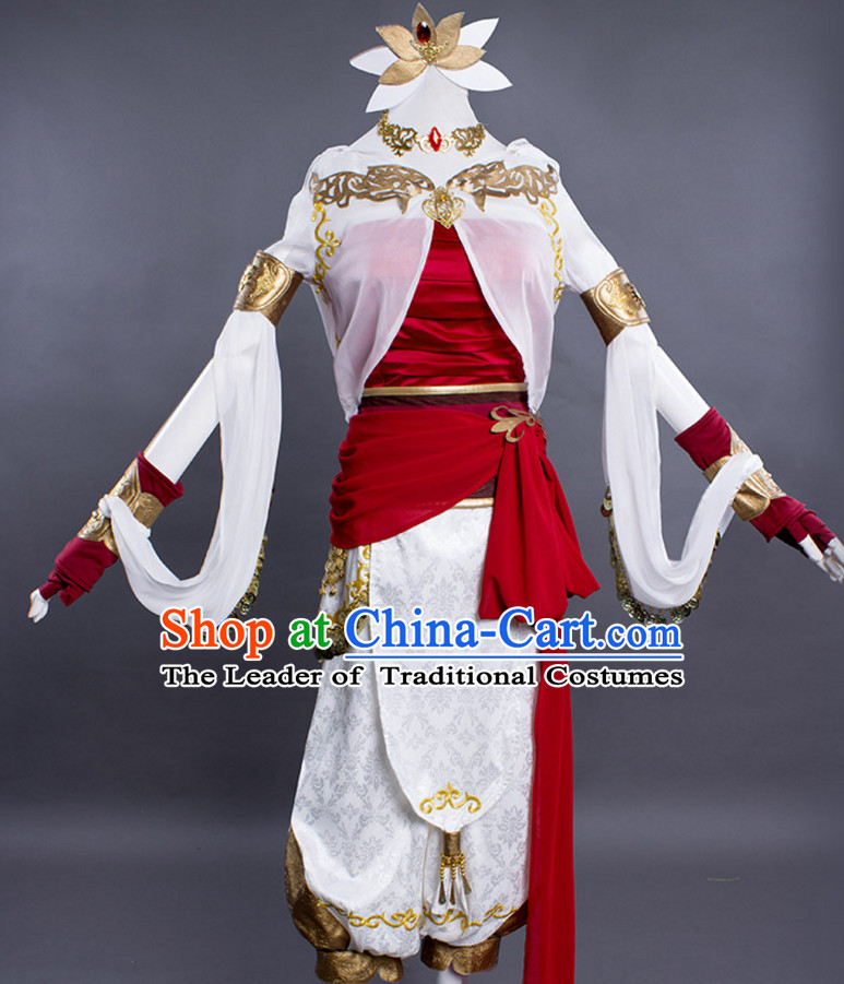 Chinese Cute Cosplay Costumes and Headdress Complete Set for Women