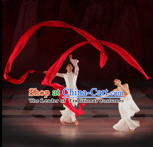 Traditional Red Silk Dance Ribbon Pair