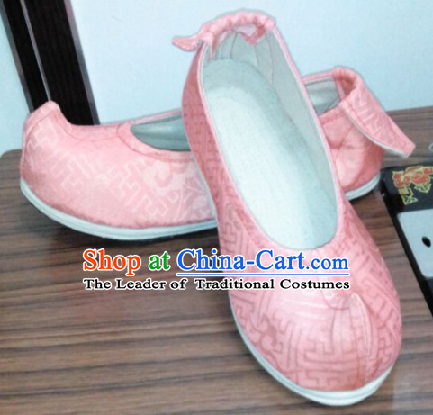 Chinese Ancient Handmade Traditional Bow Fabric Shoes for Women and Girls