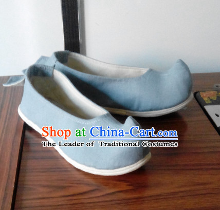 Light Blue Chinese Ancient Handmade Traditional Bow Fabric Shoes for Women and Girls