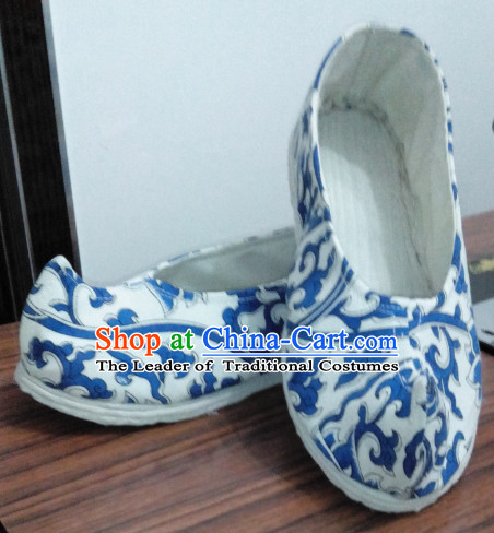 White Blue Chinese Ancient Handmade Traditional Bow Fabric Shoes for Women and Girls