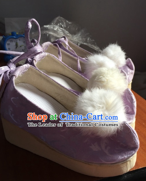 Handmade Classical Bow Shoes with White Balls for Women and Girls