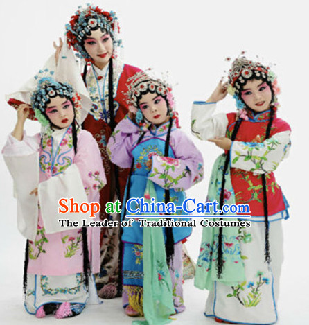 Chinese Traditional Opera Costumes and Headdress Complete Set for Girls Kids