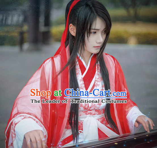 Top Chinese Ancient Red Musician Costumes Complete Set for Men