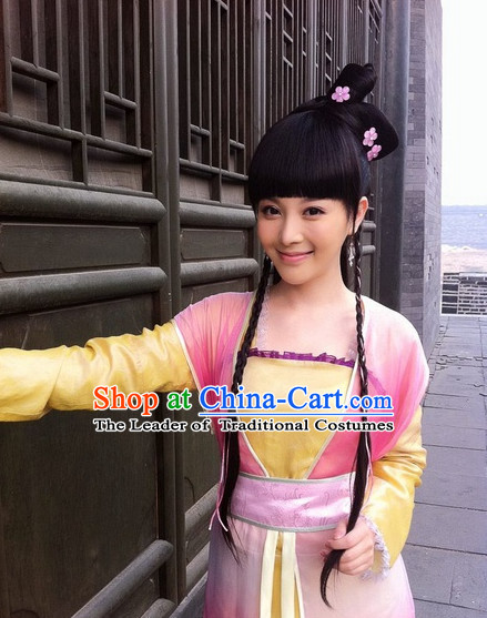 Chinese Classic Type of Black Wigs and Hair Clips for Women