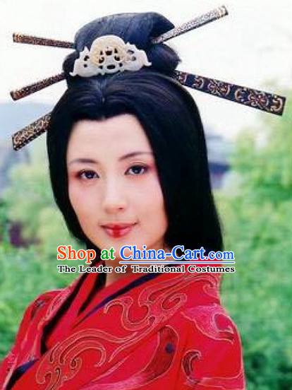 Qin Dynasty Chinese Classic Type of Imperial Princess Women Long Black Wigs and Hair Jewely Set for Women