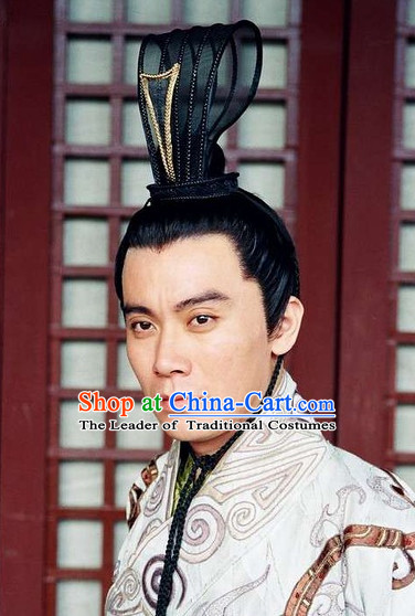 Han Dynasty Chinese Classic Type of Imperial Emperor Black Wigs and Coronet for Men
