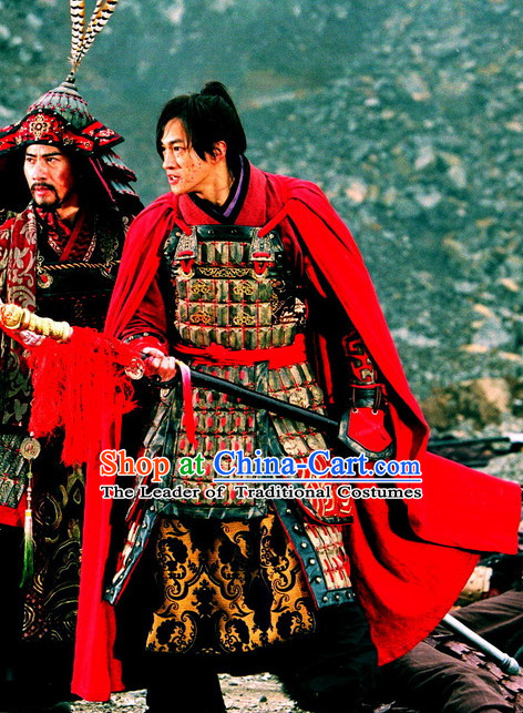 Asian Chinese Traditional General Warrior Body Armor Costumes and Mantle Complete Set for Men or Boys