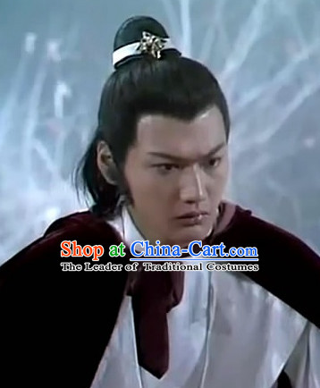 Chinese Fashion Black Long Wigs and Hair Accessory for Men