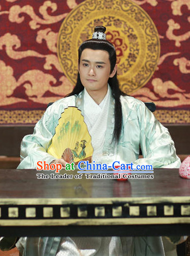 Ancient Chinese Fashion Black Long Wigs and Hair Accessory for Men