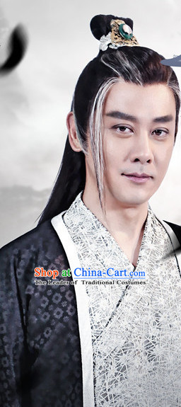 Ancient Chinese Fashion Kung Fu Master Knight Black Long Wigs and Hair Accessory for Men or Boys