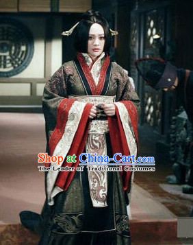 Ancient Chinese Style Empress Authentic Clothes Culture Costume Han Dresses Traditional National Dress Clothing and Headwear Complete Set for Women Girls