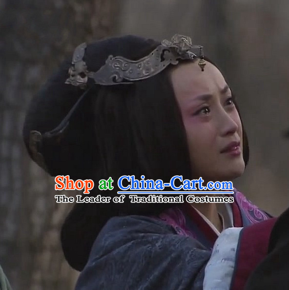 Ancient Traditional Chinese Han Dynasty Style Empress Black Long Wig Wigs and Headpieces for Women Girls