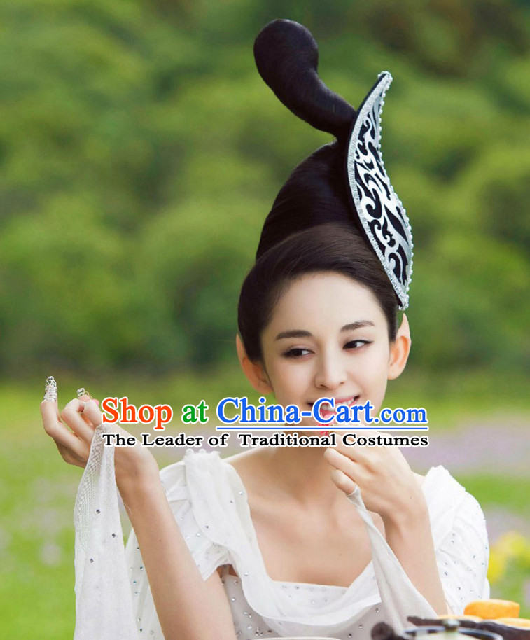 Ancient Chinese Traditional Style Fairy Black Wigs and Hairpins for Women Girls