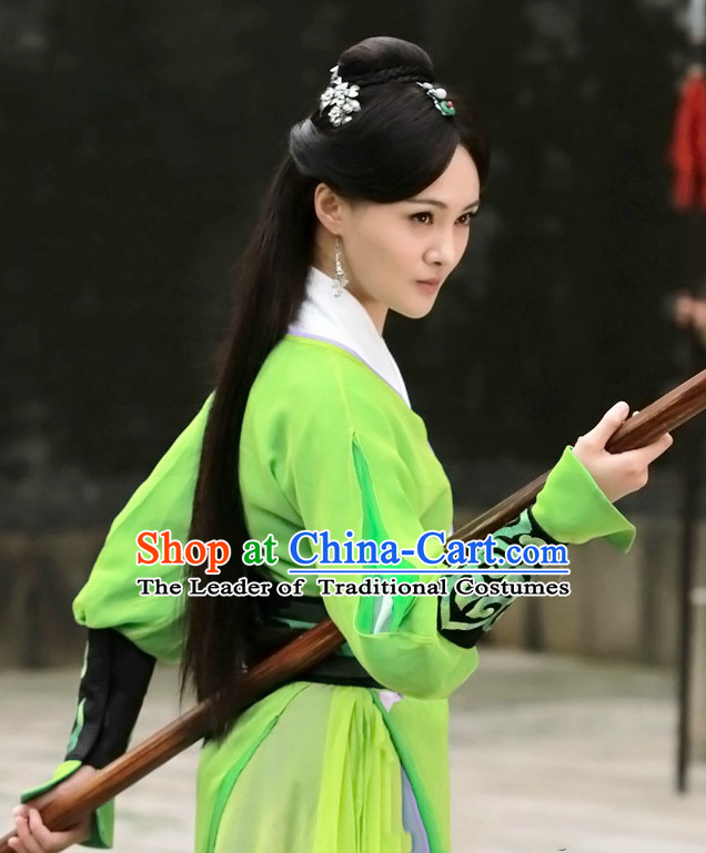 Ancient Chinese Traditional Style Kung Fu Master Wigs for Women Girls