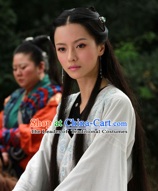 Ancient Chinese Traditional Style Musician Fairy Long Black Wigs for Women Girls