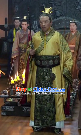Ancient Chinese Style Emperor Costume Dress Authentic Clothes Culture Han Dresses Traditional National Dress Clothing and Headdress Complete Set