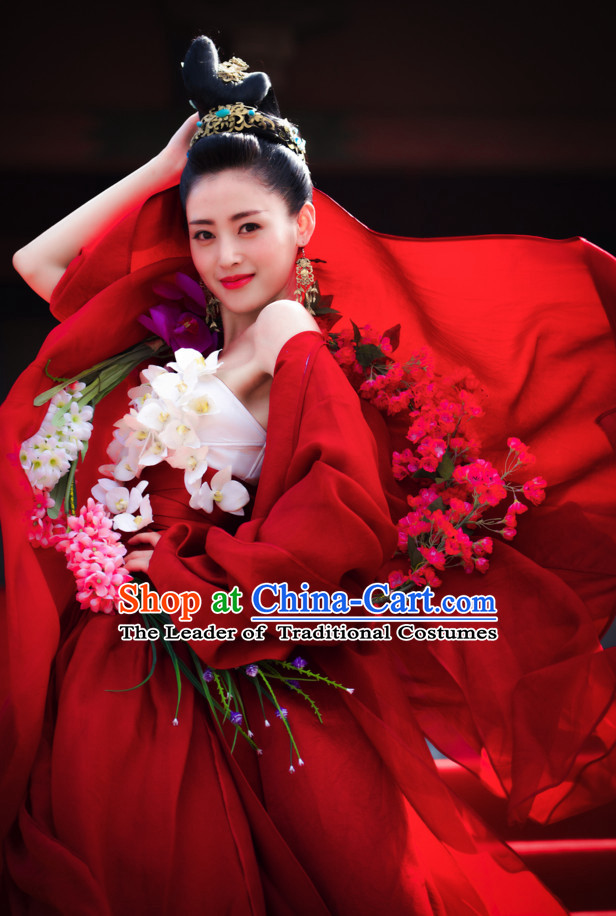 Ancient Chinese Brides Wedding Dress Authentic Clothes Culture Han Dresses Traditional National Dress Clothing and Headpieces Complete Set