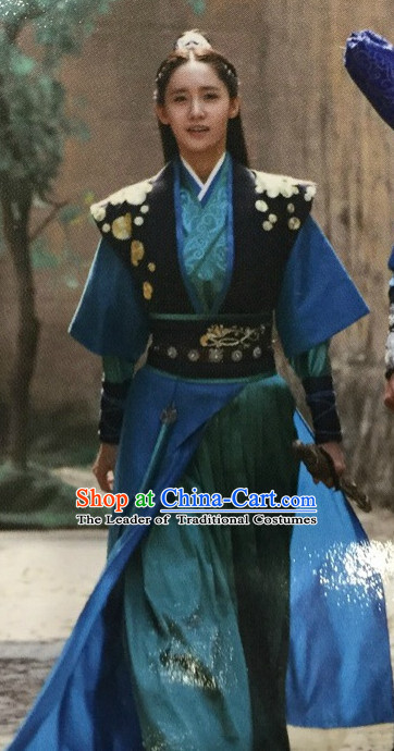 Ancient Chinese Style Warrior Hanfu Costumes Dress Authentic Clothes Culture Han Dresses Traditional National Dress Clothing and Headpieces Complete Set