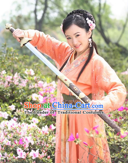 Ancient Chinese Style Superheroine Costumes Dress Authentic Clothes Culture Han Dresses Traditional National Dress Clothing and Headpieces Complete Set for Brides
