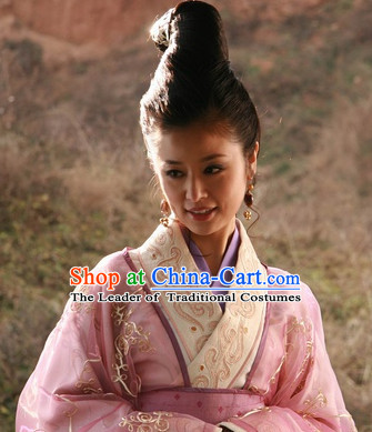 Ancient Chinese Style Lady Black Long Wigs and Headwear Set