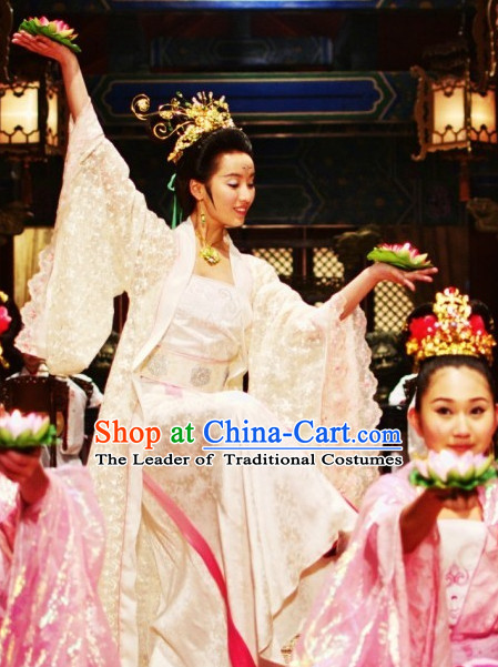 Ancient Chinese Style Palace Dancer Costumes Dress Authentic Clothes Culture Traditional National Clothing and Headwear Complete Set