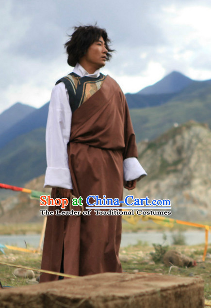 Traditional Chinese Style Tibetan Clothing Complete Set for Men