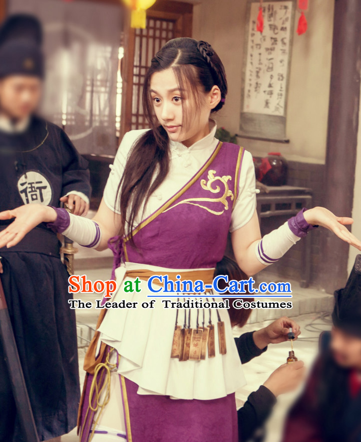 Traditional Chinese Ancient Style Waitress Costume Complete Set for Women
