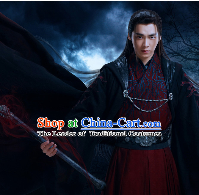 Traditional Ancient Chinese Style Knight Black Full Wig Set for Men Teenagers Boys