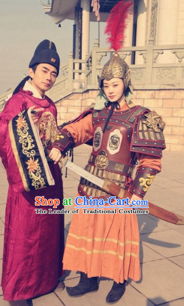 Traditional Chinese Ancient Fighter Body Armor Costumes and Hat Complete Set for Women