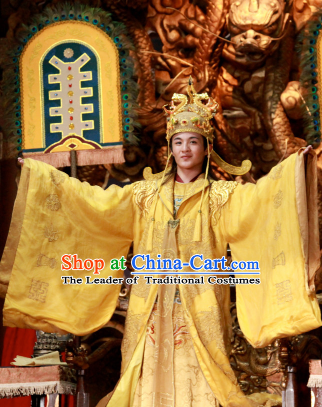 Custom Made Traditional Chinese Ancient Emperor Costumes and Crown Complete Set