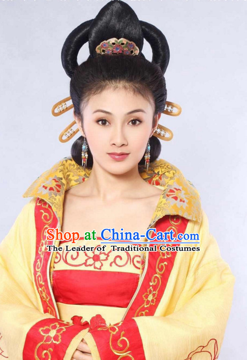 Ancient Chinese Traditional Style Queen Black Female Full Wigs and Hair Jewelry Set
