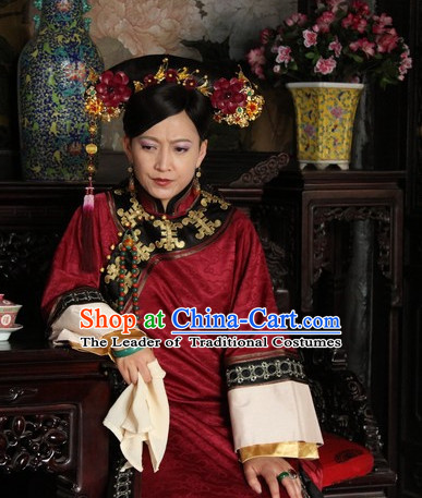 Custom Made Traditional Chinese Style TV Drama Film Manchu Ethnic Clothing and Hairpieces Complete Set