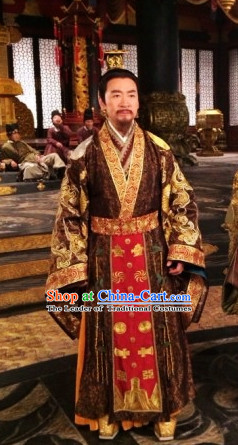 Traditional Chinese Ancient General Costumes and Hat Complete Set for Men