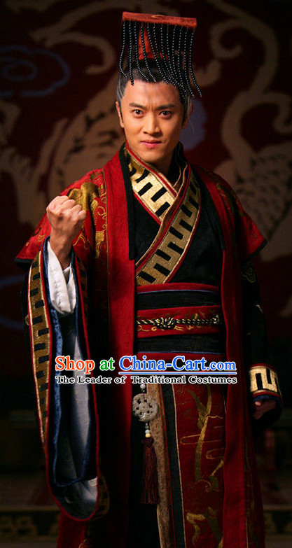 Traditional Chinese Ancient Emperor Costumes and Hat Complete Set for Men